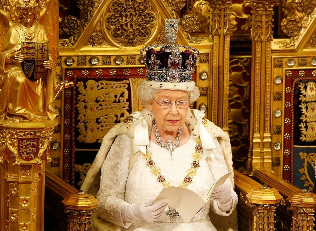 Queen Elizabeth II Reads the Queens Speech from the Throne - Christmas Traditions in England